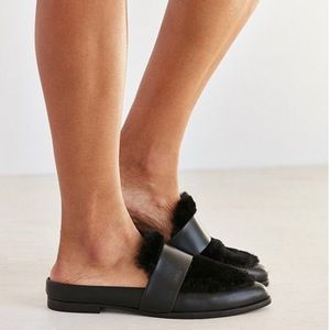 NEW Sol Sana Tuesday Faux Fur Leather Loafer Slide